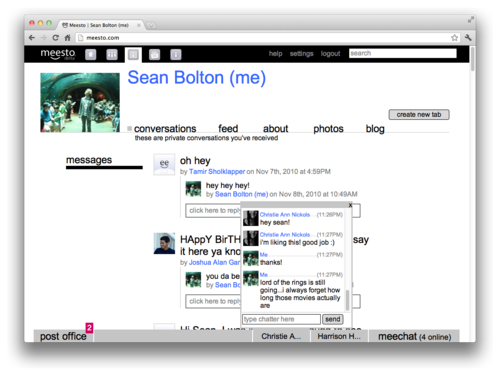 profile page with active notification and live chat